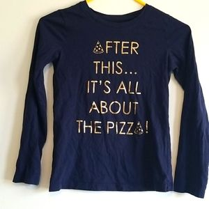 GEORGE girl graphic pizza long sleeve shirt 7/8